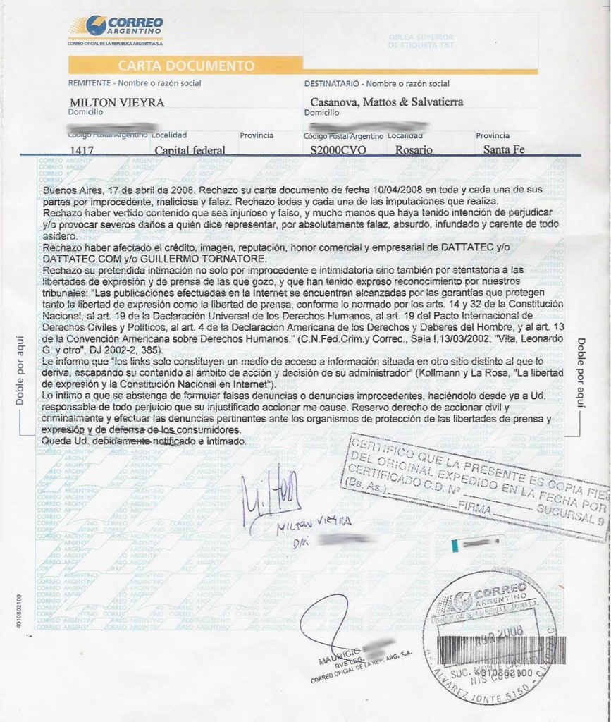 correo certificado carta documento