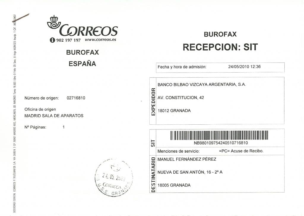 correo certificado documento